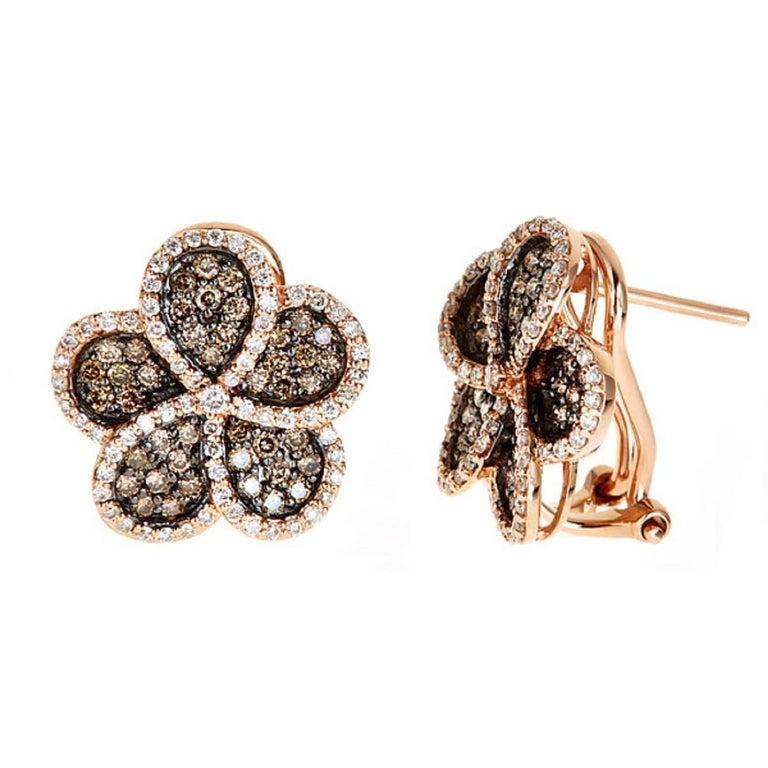 Brown and White Diamonds Flower Shape Earrings