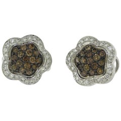 Brown and White Halo Diamond Flower Cluster Earrings