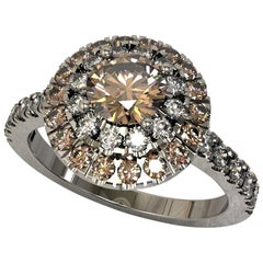 Brown and White Round Diamond Cluster Engagement Ring in 18 Carat White Gold