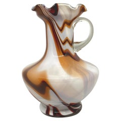 Brown and White Swirl Glass Murano Vase, German, 1970s