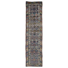Brown Antique Caucasian Kazak Double Medallion Runner Hand Knotted Oriental Rug,