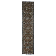 Brown Antique Persian Heriz With Soft Natural Colors Narrow Runner Hand Knotted