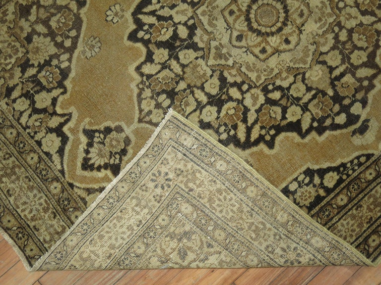 Restauration Brown Antique Persian Tabriz Rug For Sale