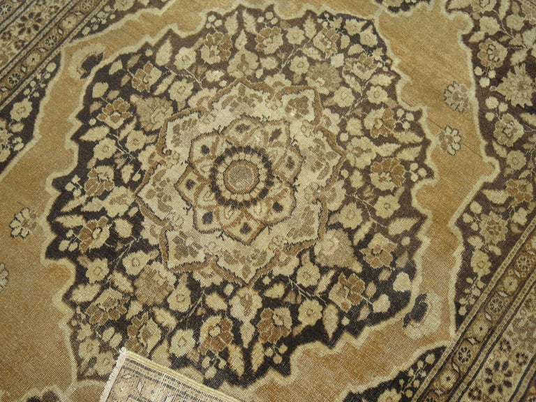 Hand-Woven Brown Antique Persian Tabriz Rug For Sale