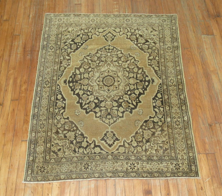 Brown Antique Persian Tabriz Rug In Good Condition For Sale In New York, NY