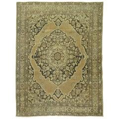 Brown Antique Persian Tabriz Rug