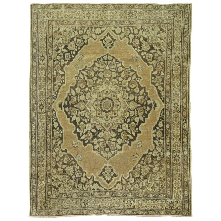 Brown Antique Persian Tabriz Rug For Sale