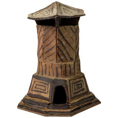 Brown Architectural Stoneware House Ceramic Sculpture by Jacques Laroussinie