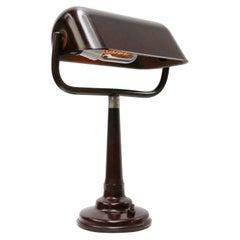 Brown Bakelite Vintage Industrial Banker Light Table Desk Lights