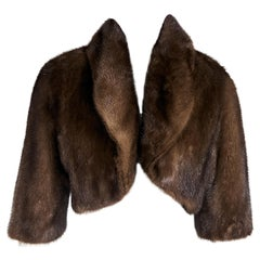 Brown Barneys New York Mink Fur Bolero Jacket