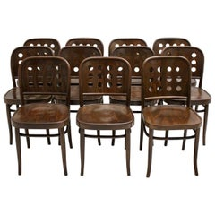 Brown Beech Vintage Dining Chairs in the Style of Josef Hoffmann Vienna