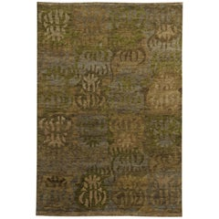 Brown, Beige, Gray and Green Swedish Inspired Wool Rug