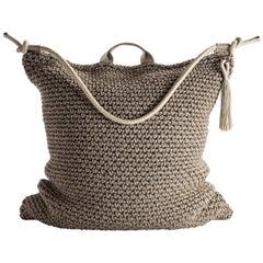 21st Century Asian Brown Beige Outdoor Indoor Handmade Bag Cushion