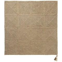 Brown Beige Outdoor Indoor Medium Rug Handmade Crochet in UV Protected Yarn