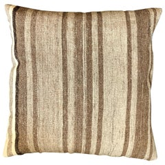 Brown and Beige Striped Wool Pillow by Le Lampade