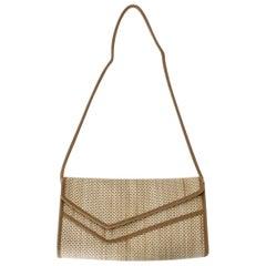 Brown Beige Vintage Shoulder Bag Italy 1970s