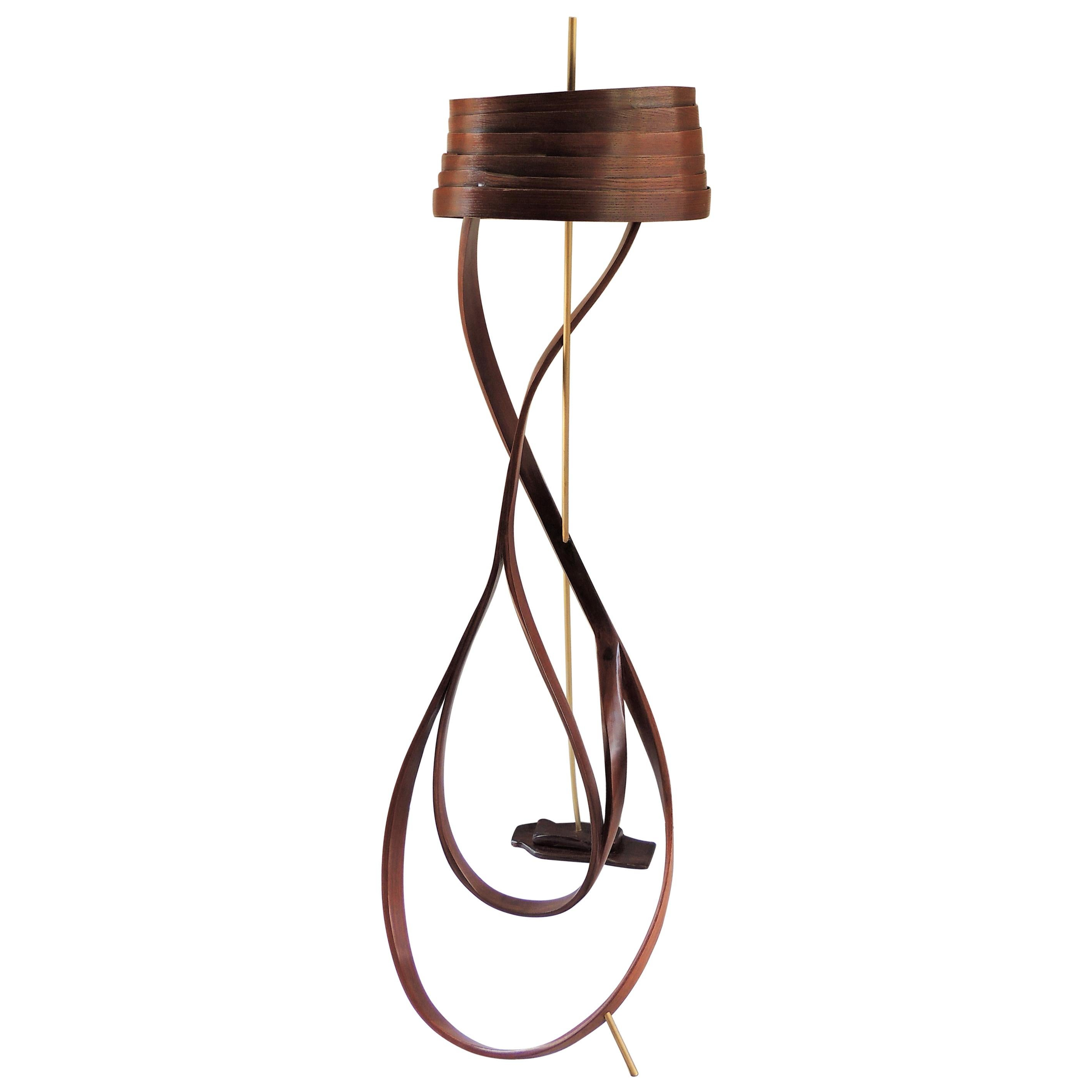 Brown Bent Wood Floor Lamp with Brass Detail by Raka Studio