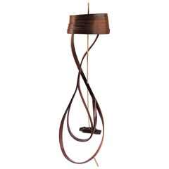 Brown Bent Wood Floor Lamp with Brass Detail by Raka Studio