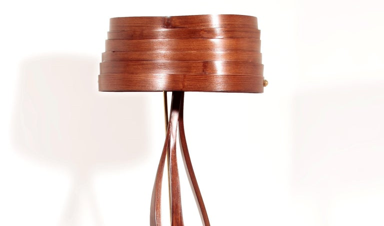 Modern Brown Bent Wood Sculptural Floor Lamp with Brass Elements by Raka Studio For Sale
