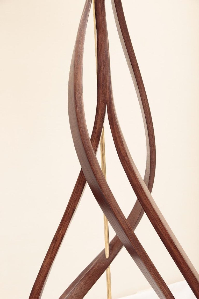 Unknown Brown Bent Wood Sculptural Floor Lamp with Brass Elements by Raka Studio For Sale