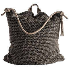21st Century Asian Brown Black Outdoor Indoor Handmade Bag Cushion