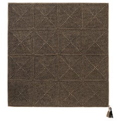 21st Century Asian Brown Black Outdoor Indoor Medium Rug Handmade Crochet Rug