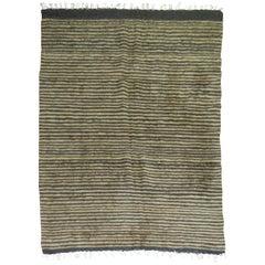 Brown Black Striped Vintage Mohair Rug