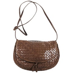 Brown Bottega Veneta Woven Leather Crossbody Bag