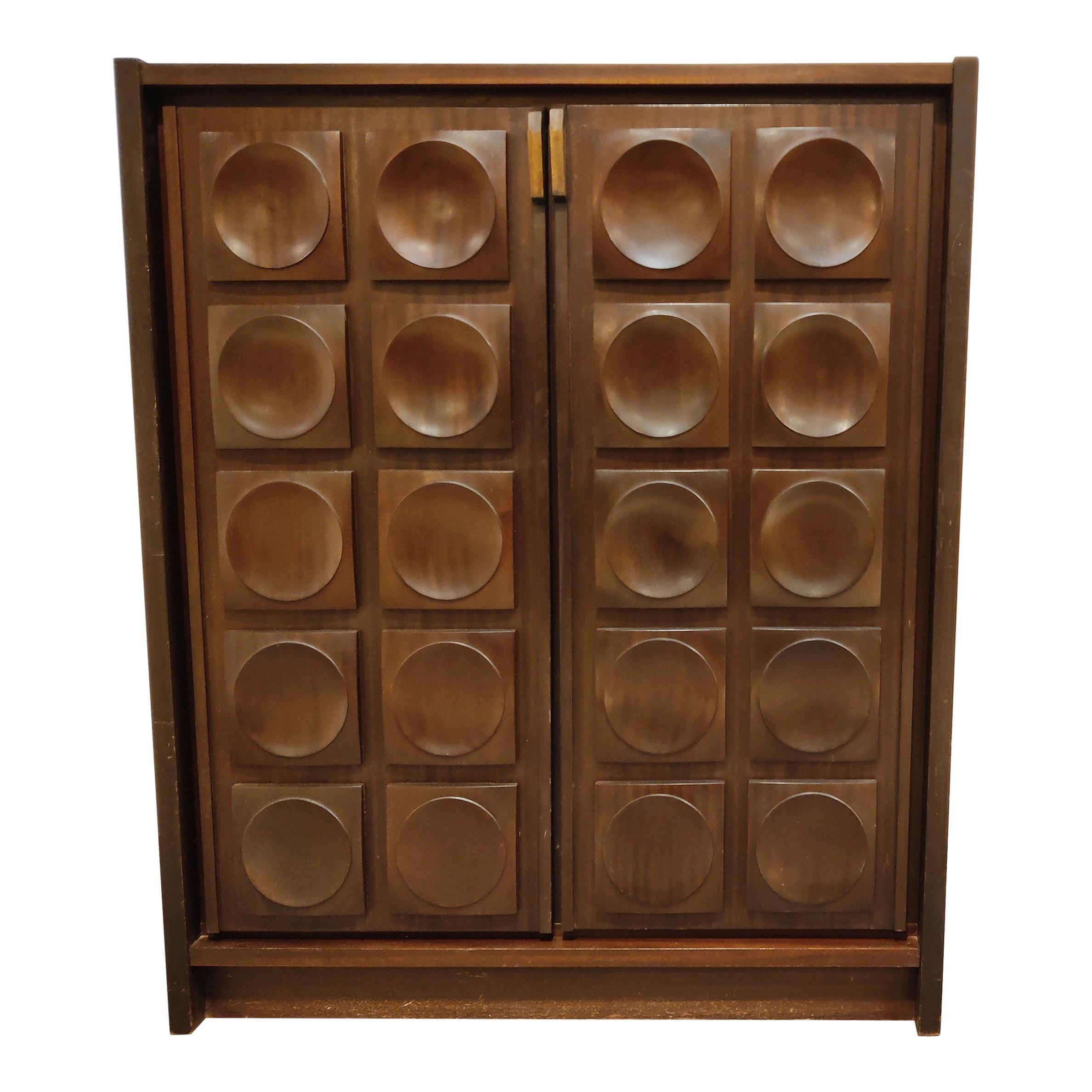 Brown Brutalist Bar Cabinet, 1970s