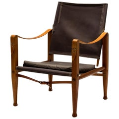 Brown Canvas Mid-Century Kaare Klint Safari Chair, Denmark, 1960s