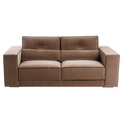 Brown Capricho Midcentury Design Sofa with Contrasting Piping Details
