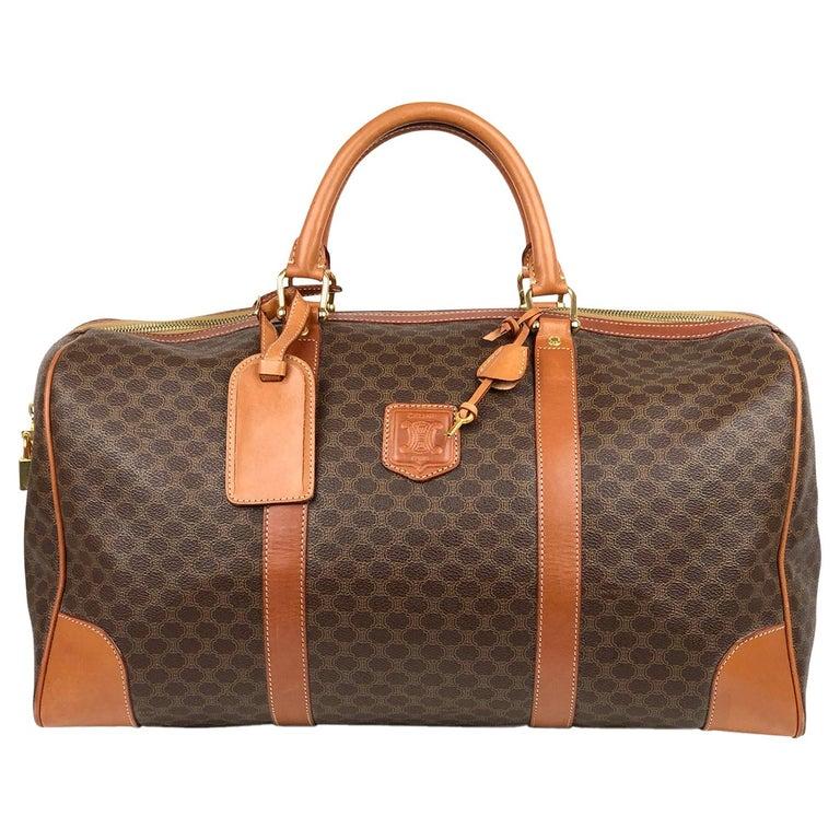 Brown Celine Macadam Weekend Bag For Sale