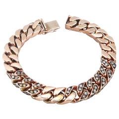 Brown Champagne Diamond Chain Link 18 Karat Rose Gold Bracelet