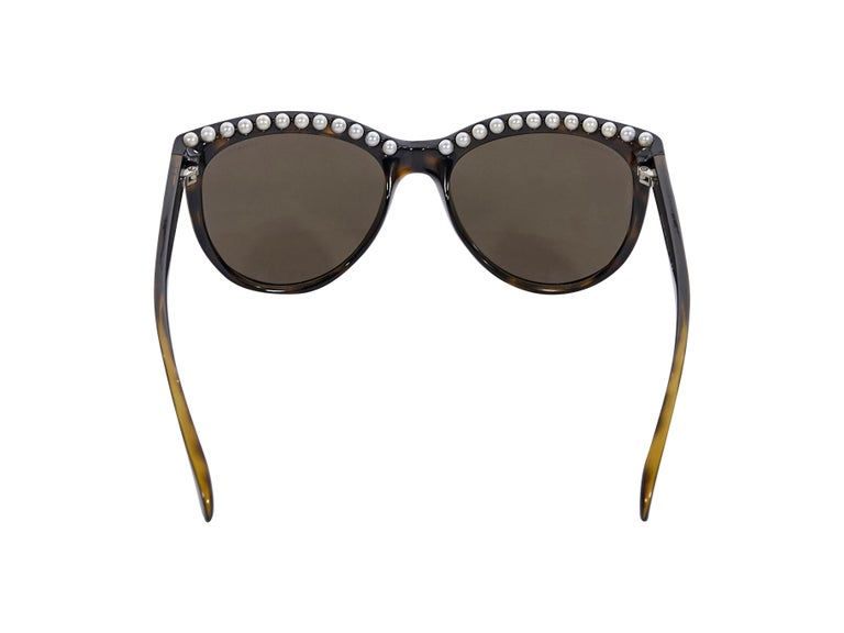 Black Chanel Brown Faux Pearl-Trimmed Sunglasses For Sale