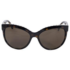 Chanel Brown Faux Pearl-Trimmed Sunglasses