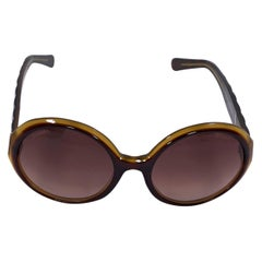 Brown Chanel Quilted Round Sunglasses