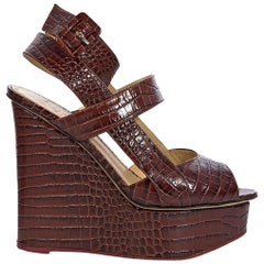 Charlotte Olympia Brown Leather Crocodile-Embossed Wedge Sandals