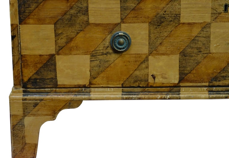 Brown Checkerboard Pattern Faux Painted Chest of Drawers, England, 19th Century In Good Condition For Sale In New York, NY