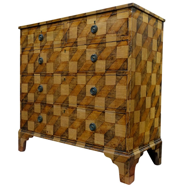 Brown Checkerboard Pattern Faux Painted Chest of Drawers, England, 19th Century For Sale