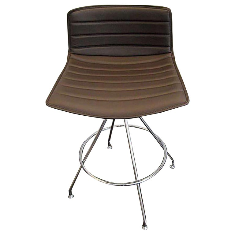 Remarkable Arper Brown Chocolate Leather Catifa Counter Stool For Sale Caraccident5 Cool Chair Designs And Ideas Caraccident5Info