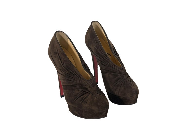 sports shoes 3ebb5 4bfa6 Brown Christian Louboutin Suede Platform Ankle Boots
