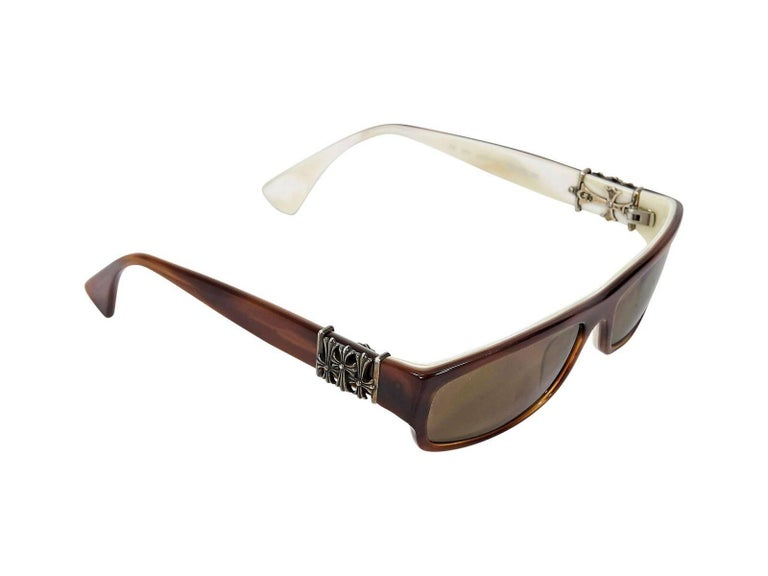 d40c9fb57a9f Brown Chrome Hearts Small Rectangular Sunglasses In Good Condition For Sale  In New York