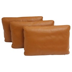 Brown Cognac Stitched Leather Vintage Three Large Pillows, 1970s, Switzerland