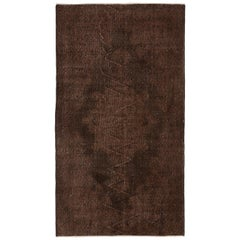 Brown Color Over-Dyed Handmade Vintage Turkish Rug. 4x7 Ft Woolen Floor Covering