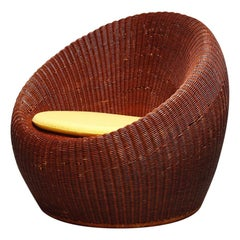 Brown Color Rattan Lounge Chair by Isamu Kenmochi for Yamakawa Rattan, 1960s