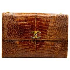 Brown Crocodile Chanel Crossbody Bag
