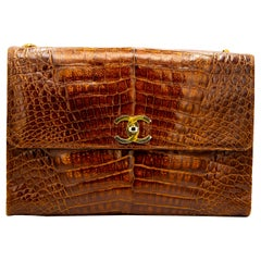Brown Crocodile Chanel Crossbody Bag