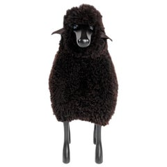Brown Curly Sheepskin with Black Wood and Leather Handmade, Life-Size Sheep