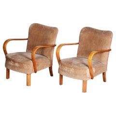 Brown Czech Art Deco Beech Armchairs 1930s, Original Well Preserved Condition