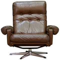 Brown Danish Design Armchair Leather Vintage Retro